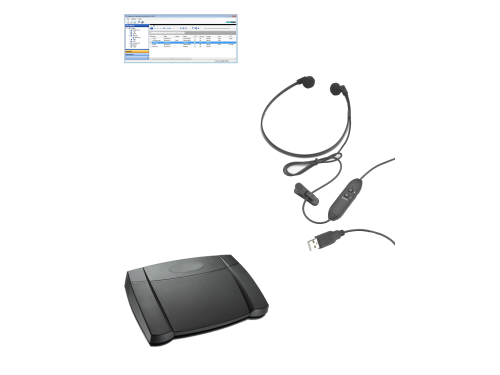 Dataworxs Audiowav Player transcription kit - (headset and footpedal)